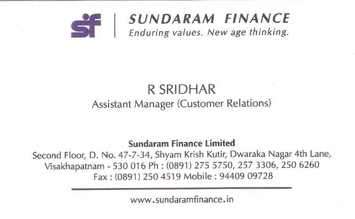 SUNDARAM FINANCE LTD.,SUNDARAM FINANCE LTD.Finance Companies,SUNDARAM FINANCE LTD.Finance Companies, SUNDARAM FINANCE LTD. contact details, SUNDARAM FINANCE LTD. address, SUNDARAM FINANCE LTD. phone numbers, SUNDARAM FINANCE LTD. map, SUNDARAM FINANCE LTD. offers, Visakhapatnam Finance Companies, Vizag Finance Companies, Waltair Finance Companies,Finance Companies Yellow Pages, Finance Companies Information, Finance Companies Phone numbers,Finance Companies address